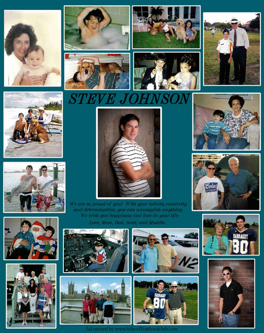 Nineteen pictures with white borders on teal background